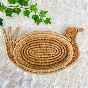 Vintage Weaved Wicker Rattan Bird/Turkey Basket